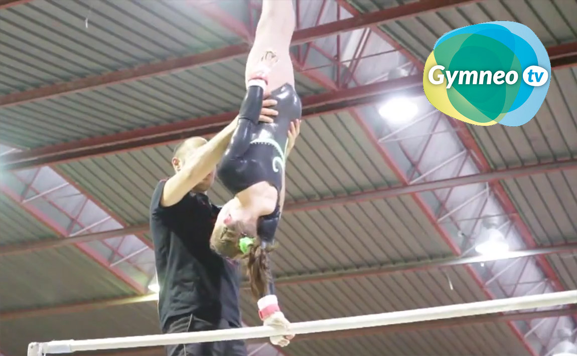 Gymnastics drills - Gymneo, Giant swing half turn