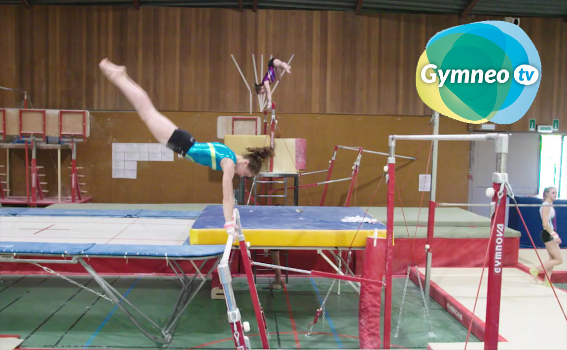 Gymnastics drills - Gymneo, Counter movement on uneven bars