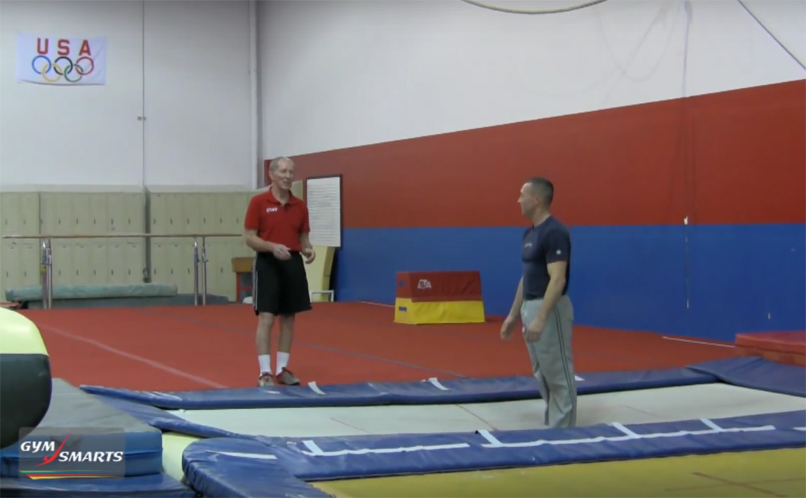 Gymnastics drills - George Hery, landing positions on trampoline