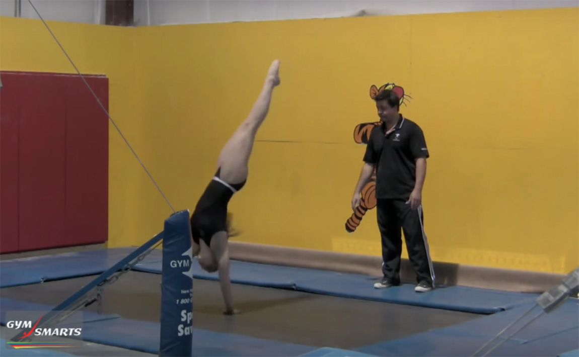 Gymnastics drills - Retrosi, trampoline for bars