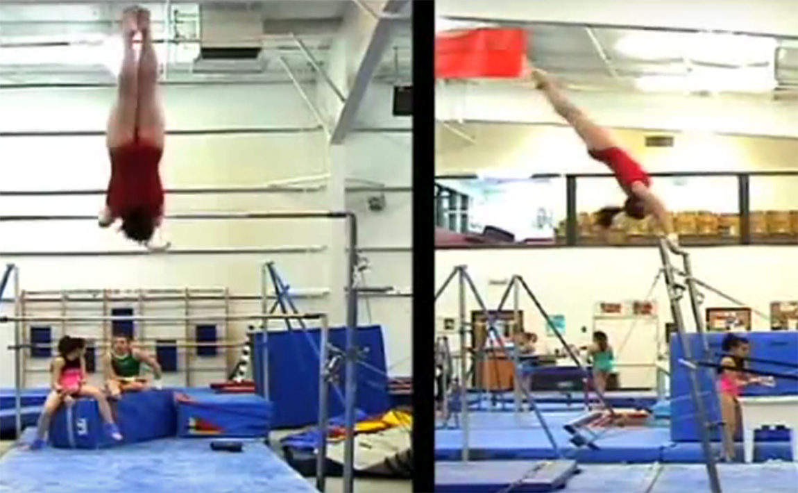 Gymnastics drills - Forster, straddled tap swing