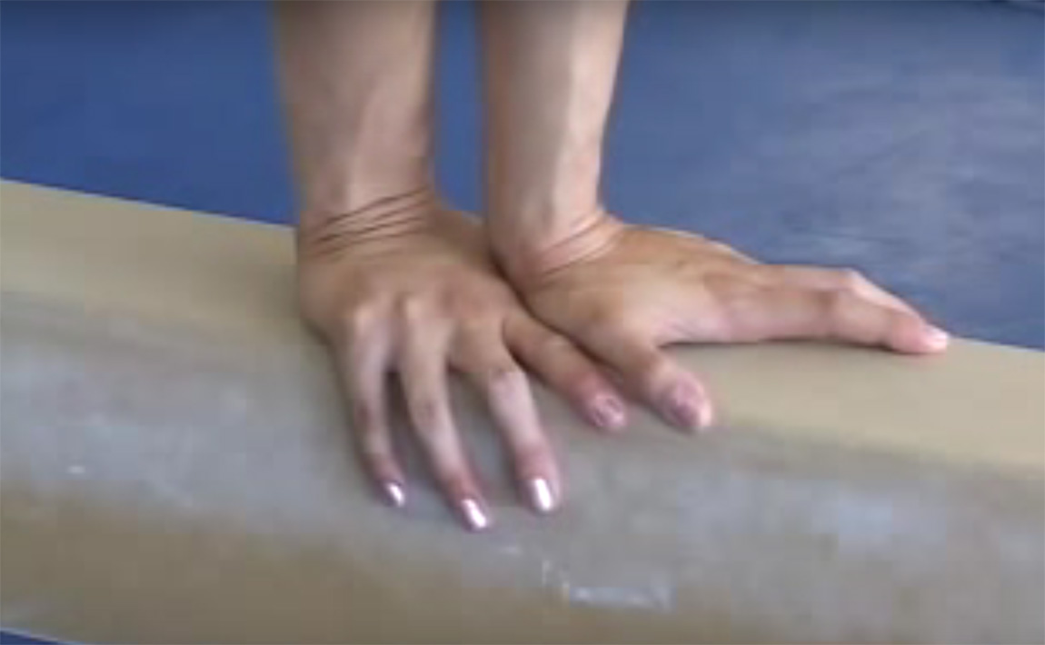 Gymnastics drills - Langley, back handspring on balance beam