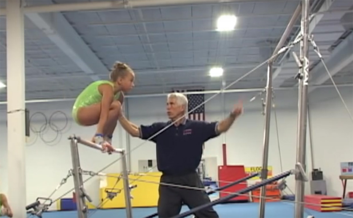 Gymnastics drills - Langley, squat on jump to high bar