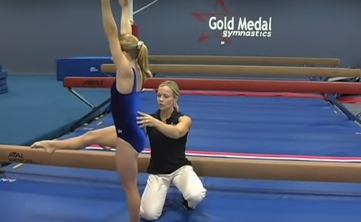 Gymnastics drills - Borden, Back Walkover on the Balance Beam