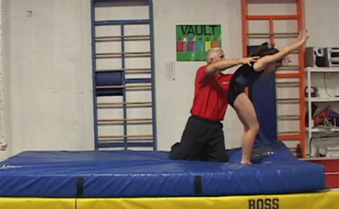 Gymnastics drills - Langley, back handspring spotting